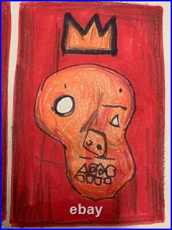 Vintage Jean-Michel Basquiat SAMO Signed Abstract Painting on Paper 13 x 8.5