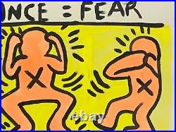 Vintage Keith Haring Pop Art Painting on Paper Ignorance = Fear, Silence = Death
