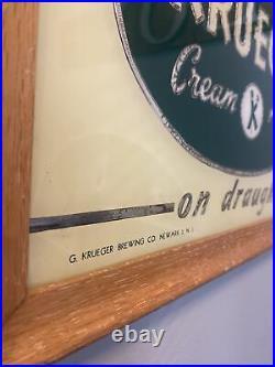 Vintage Krueger Beer Sign Reverse Painted Glass Sign NEWARK NJ BREWERIANA 1950