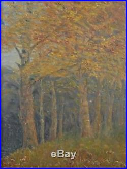 Vintage LANDSCAPE Oil Painting Gold Gilded Period Frame Autumn Fall Trees Signed
