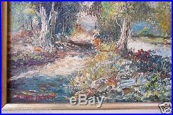 Vintage LATIN AMERICAN IMPRESSIONIST LANDSCAPE Oil Painting Signed LEICHT