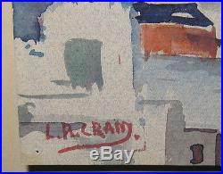 Vintage LEIGHTON CRAM'Cubist Dissection Abstract' CITYSCAPE Painting LISTED