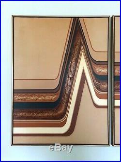 Vintage LETTERMAN PAINTING Three Piece MID-CENTURY MODERN Triptych ART Panel MCM