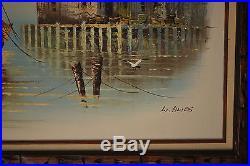 Vintage L. Alies Signed Original Oil Painting On Canvas Ship Dock Sea 43X31.5