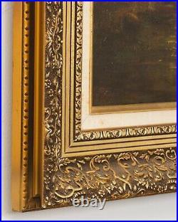 Vintage Landscape Forest Painting Signed Lengenfelder Ornate Frame 21.25 x 18