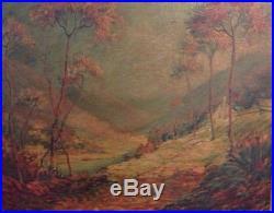 Vintage Landscape Painting Signed Ellis Grove Illegible Orig. Artist Made Frame