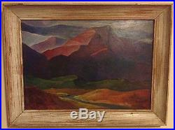 Vintage Landscape Painting Signed R Wade (Anchor Monogram) Colorful