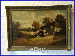 Vintage Large GL Cameron Ecuador Artist Signed Landscape Oil Painting Swan Inn