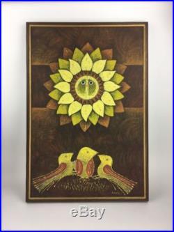 Vintage Large Mid Century M. Morales Signed Birds & Sun Modernist Painting