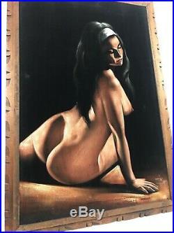 Vintage Large Nude Woman Beautiful Lady Velvet Painting Signed Framed MCM ORTIZ
