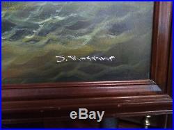 Vintage Large Oil On Canvas British Ship Battle Painting Signed