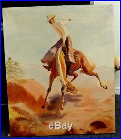 Vintage Large Oil On Canvas Cowboy Painting 30x36 Bucking Bronco Signed & Dated