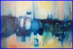 Vintage Large Oil Painting On Canvas MID Century 1968 Abstract Art Signed Coburn