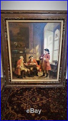 Vintage Large Oil Painting Original signed Patriotic George Washington Framed