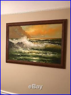 Vintage Large Oil Painting Sea Scape Signed