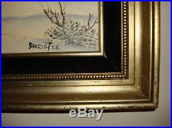 Vintage Large Oil Painting signed Barrister Snow Mountain Tree Scene Gold frame