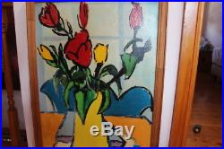 Vintage Large Original Australian Painting On Wooden Board Signed Heinz