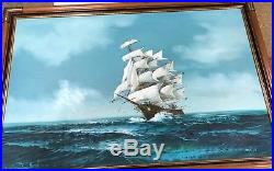Vintage Large Signed Jackson ship at sea oil painting on canvas Excellent