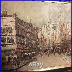 Vintage Large oil on canvas painting Approx 44 X 33 Signed. Cityscape