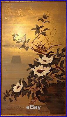 Vintage Lee Reynolds Original Signed Textured Oil Asian Bird Flowers Gold Canvas