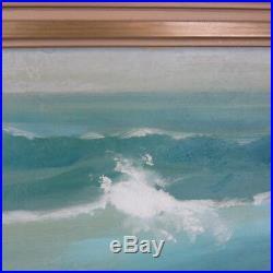 Vintage Leonard Borman California Seascape 51X35 Oil Painting Listed Artist