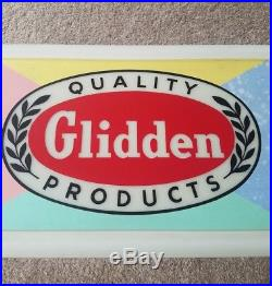 Vintage Lighted Paint Advertising Sign Glidden Paints Gas Oil Advertisement