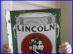 Vintage Lincoln Paint Sign Double Sided Porcelain Flange, Balto Rare