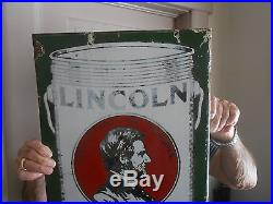 Vintage Lincoln Paint Sign Double Sided Porcelain Flange, Balto Rare