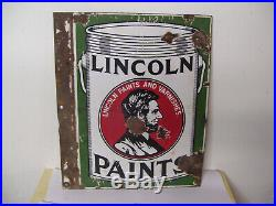 Vintage Lincoln Paints Double Sided Porcelain Flange Sign 20 x 15
