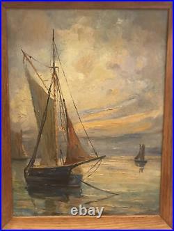 Vintage MCM Original Sail Boat Oil Painting Signed Echemendia Dated 1956
