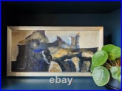 Vintage MID Century Abstract Swedish Framed Oil Painting Black & Blue