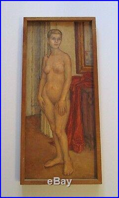Vintage MID Century Female Nude Painting Blonde Model 1950's Signed Mattson