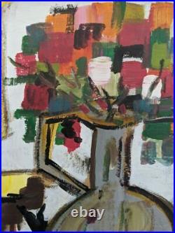 Vintage MID Century Impressionist Cubist Oil Abstract Still Life Blossom
