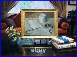 Vintage MID Century Impressionist Framed Oil Still Life The Reader
