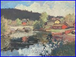 Vintage MID Century Impressionist Oil Lake Landscape Painting Spring Stream