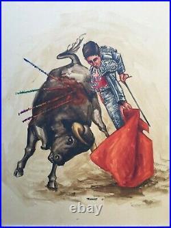 Vintage MID Century Modern Original Bullfighter Framed Painting Spanish Matador