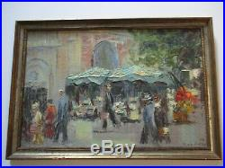 Vintage MID Century Modern Painting French France Impressionist City Urban 1950