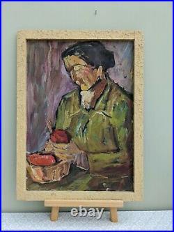 Vintage MID Century Modernist Portrait Swedish Painting Lady With Apples