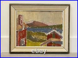 Vintage MID Century Modernist Swedish Abstract Framed Oil Painting Red House
