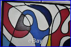 Vintage MODERNIST ABSTRACT OIL PAINTING MID CENTURY SIGNED DPT 68