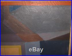 Vintage MODERNIST Henry Finn NEWPORT RI Geometric WINDOW Oil Painting Abstract