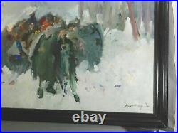 Vintage MYSTERY Russian Modernist Brutalist Oil Painting Figures Snow Forest