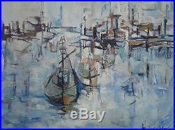 Vintage Marina Painting Exhibited Abstract Expressionism Modernism Harbor Boats