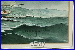 Vintage Maritime Sail Boat American Watercolor Painting Signed Earle G Barlow