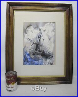 Vintage Marjorie SIGNED Wayne Sessions School Abstract Watercolor Painting yqz