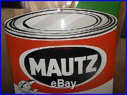 Vintage Mautz Paint Die Cut Metal Sign 29 X 22 Stout Sign Co