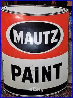 Vintage Mautz Paint Metal Sign Grace Sign Co. St. Louis 60x42