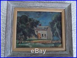 Vintage Max Weber Modernist Oil painting house scene (1940's) Signed