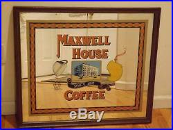 Vintage Maxwell House Coffee Wall Mirror Sign Reverse Painted ORIGINAL SALE