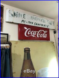 Vintage Metal Coke Sign 1950s COCA COLA Sled Porcelain Soda Louisiana HAND PAINT